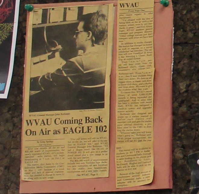 press clipping at college radio station WVAU