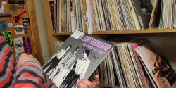 Looking through the vinyl library at college radio station KRLX. Photo: J. Waits