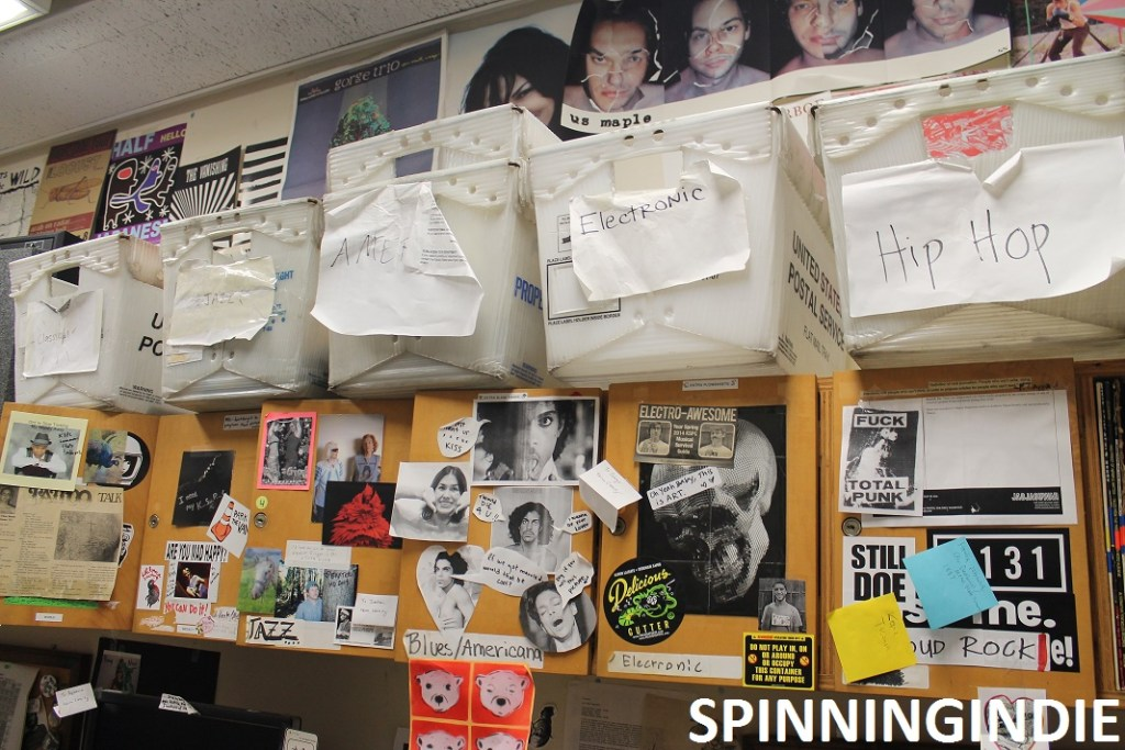 Music Director's Office at KSPC with mail tubs labeled for different genres of music. Photo: J. Waits