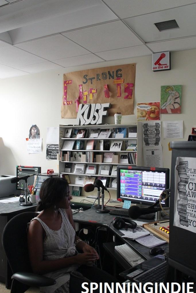 Student DJ in studio at college radio station KUSF.org. Photo: J. Waits