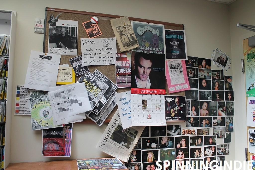 Wall of KUSF.org studio. Photo: J. Waits