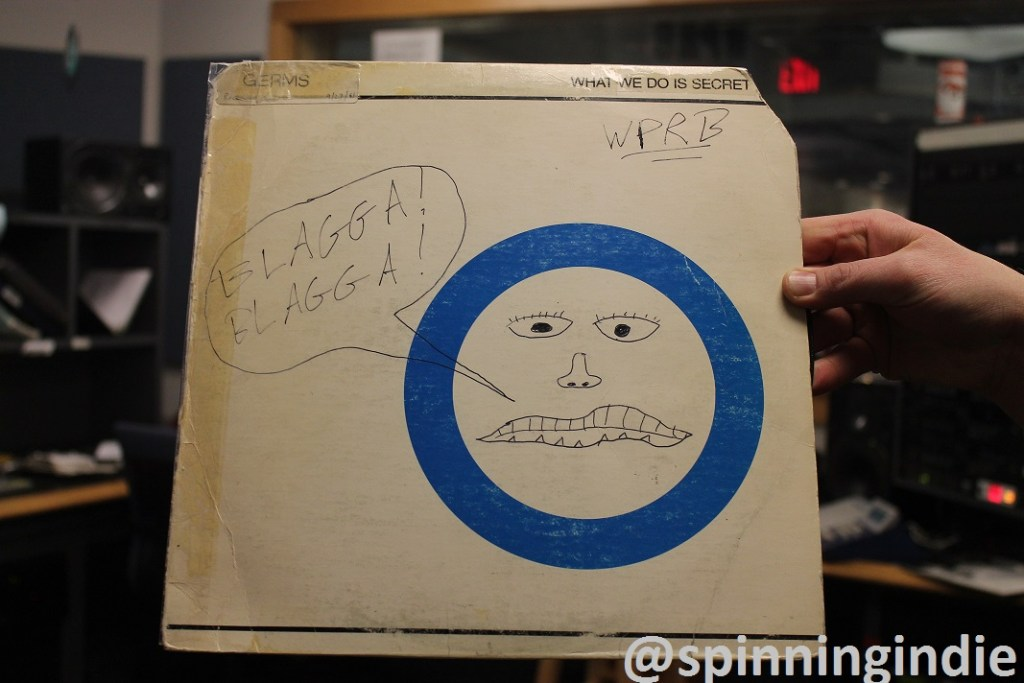 """Blagga Blagga"" scrawled on a Germs LP at WPRB. Photo: J. Waits"