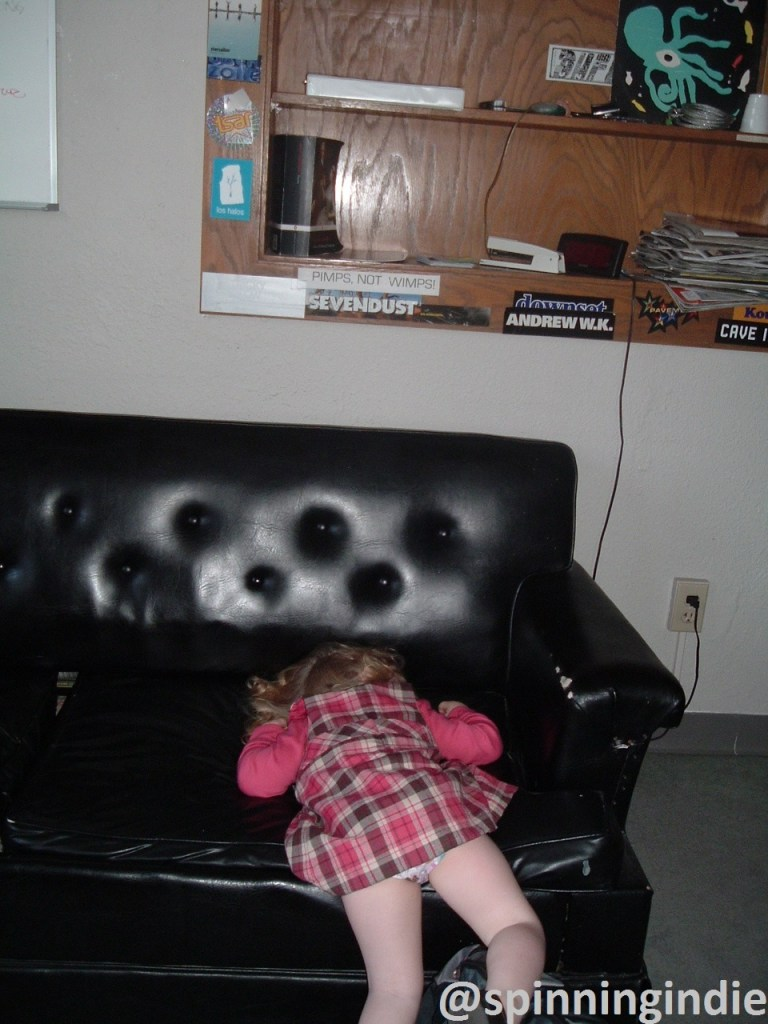 Crashed out on college radio station couch at WVFI at Notre Dame. Photo: J. Waits