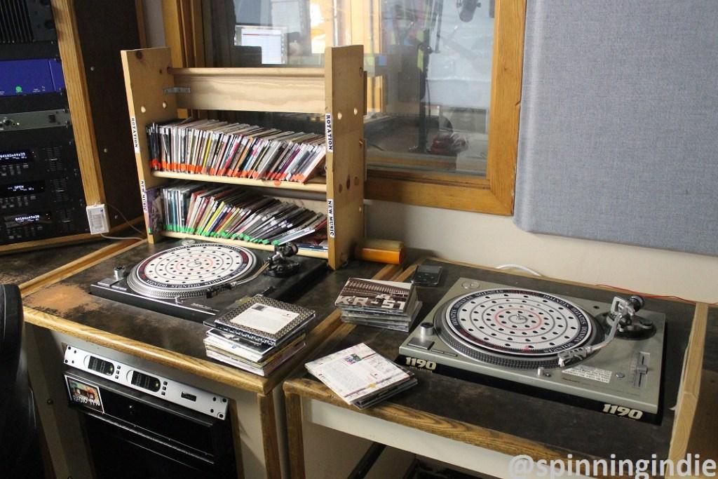 Turntables in on-air studio of college radio station Radio 1190. Photo: J. Waits