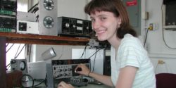 An amateur radio operator, Yvette Cendes, KB3HTS, at station W8EDU, 2005