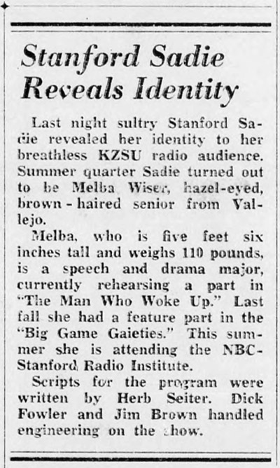 Story from The Stanford Daily, August 5, 1952