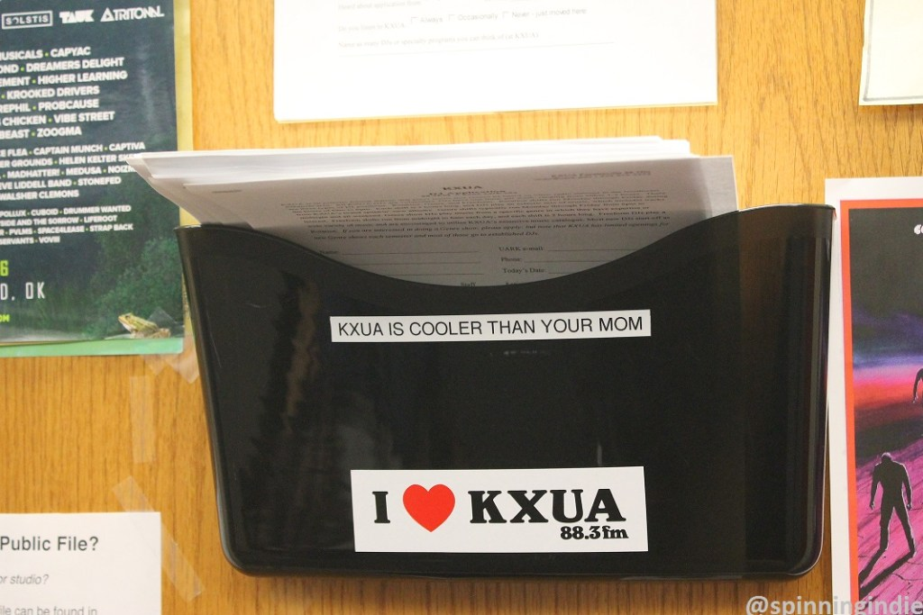 Door to KXUA office. Photo: J. Waits