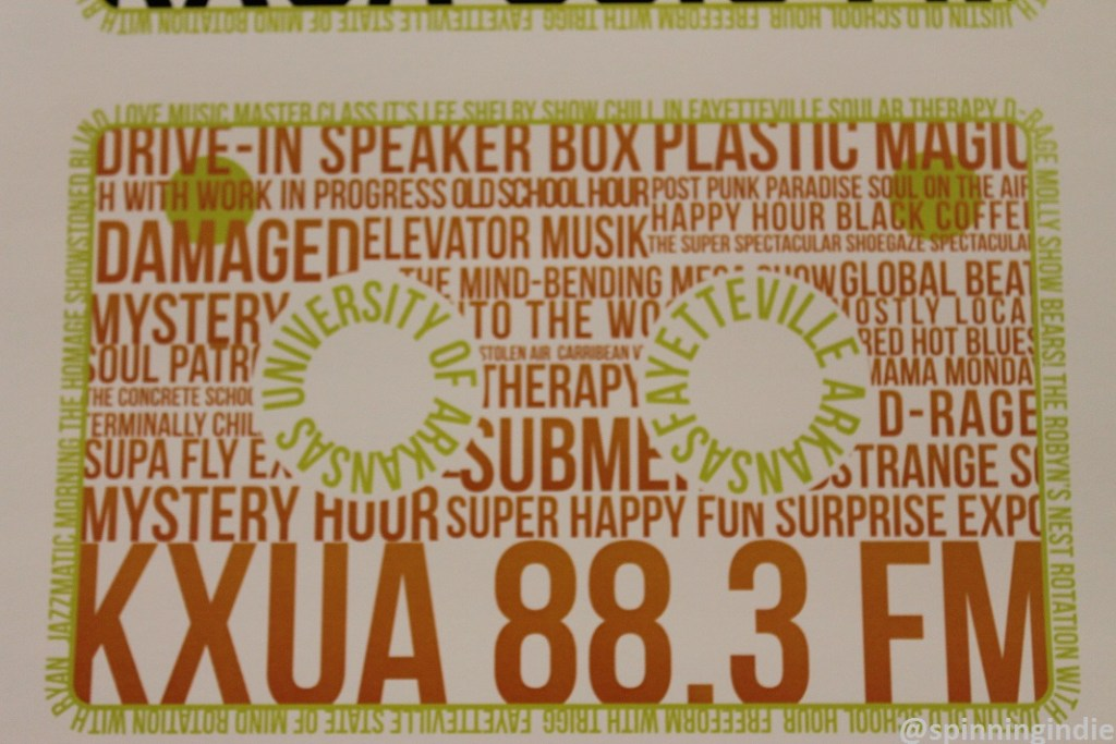 KXUA promotional piece expressing variety of programming aired on the college radio station. Photo: J. Waits