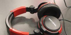 Headphones in college radio station WNUW-LP's studio. Photo: J. Waits