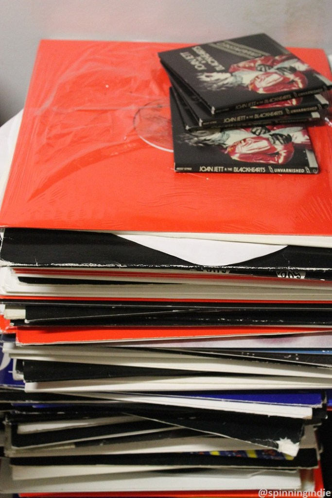 Stack of LPs and CDs at WHIP. Photo: J. Waits