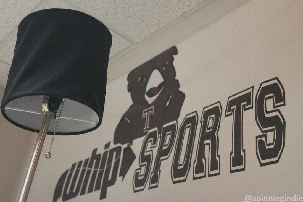 WHIP Sports logo on the college radio station's wall. Photo: J. Waits