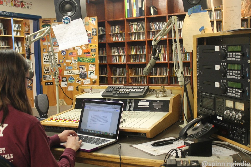 Student DJ on the air at college radio station WCWM. Photo: J. Waits