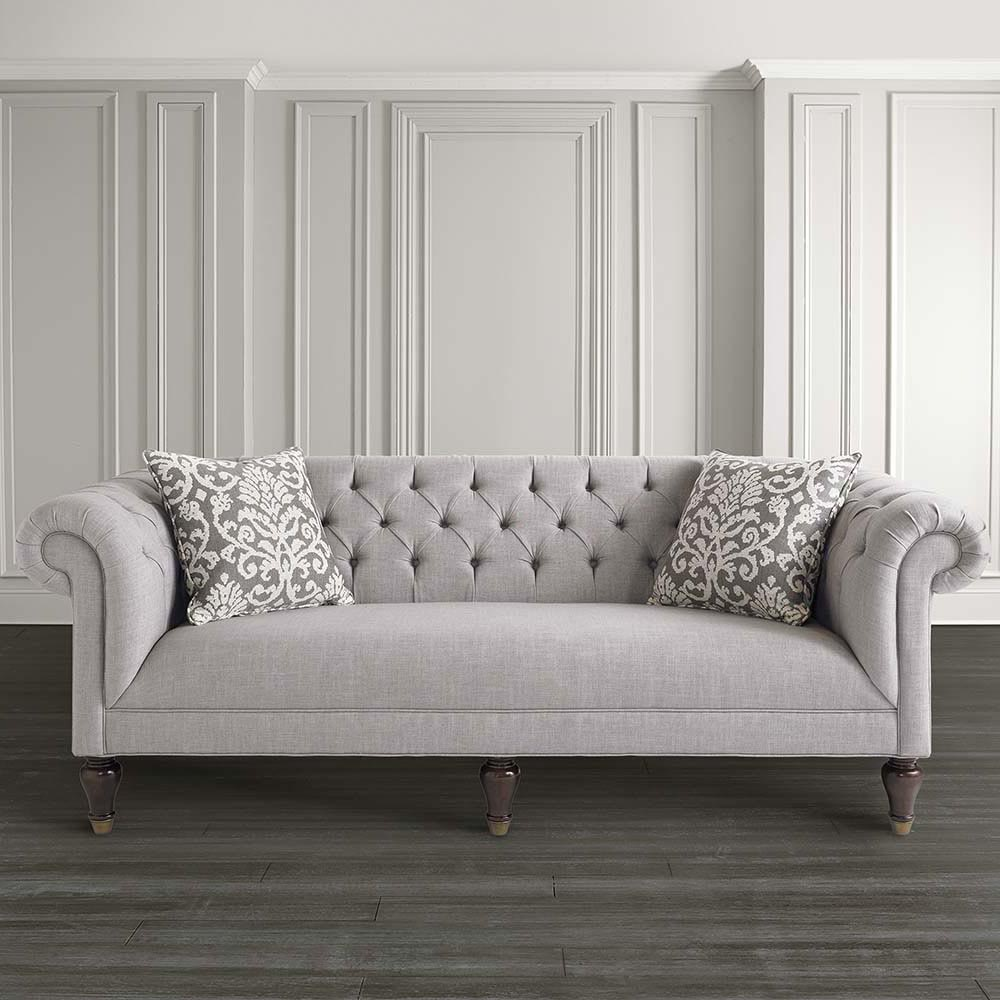 living room sofa fabric ideas classic sets furniture grey chesterfield with wood legs for idea