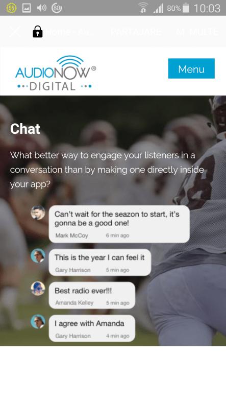 app 45 audionow Chat NEIMPLEMENTATA