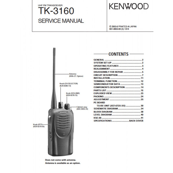 Kenwood TK-3160 B51-8653-00 Service Manual PDF Instant