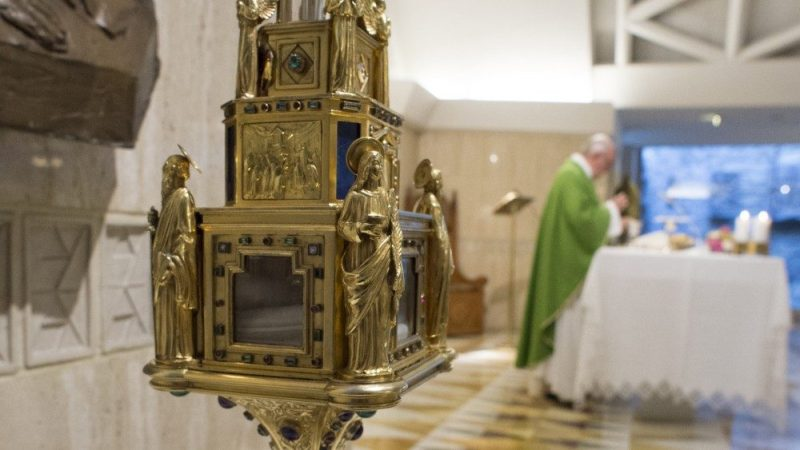 IL RELIQUIARIO DA PAPA FRANCESCO a Santa Marta in Vaticano nei giorni 24/25 maggio 2018