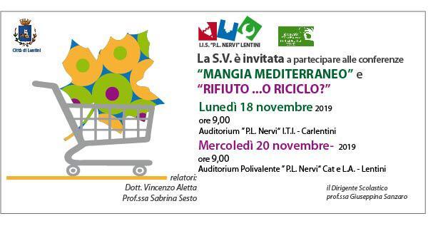 """Carlentini – Lentini, due conferenze la prossima settimana per  partecipare alla Settimana Europea per la riduzione dei rifiuti. Iniziativa organizzata dall'Istituto """"Pierluigi Nervi"""""""