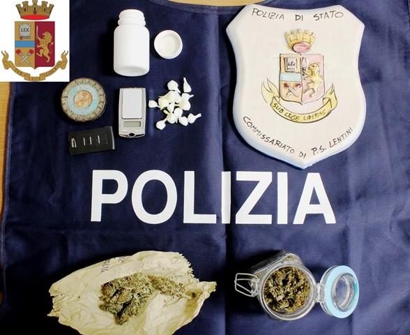 Lentini, un uomo deteneva marijuana e cocaina, arrestato dalla Polizia