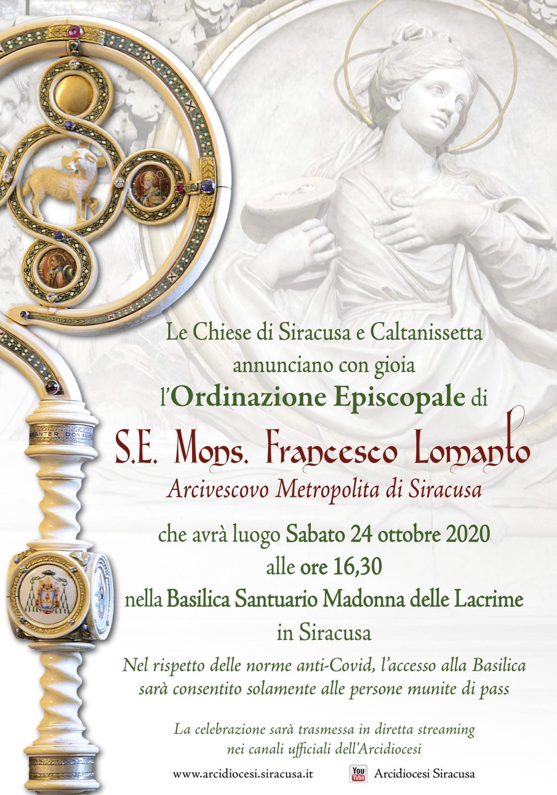 Siracusa,  Ordinazione Episcopale di mons. Francesco Lomanto