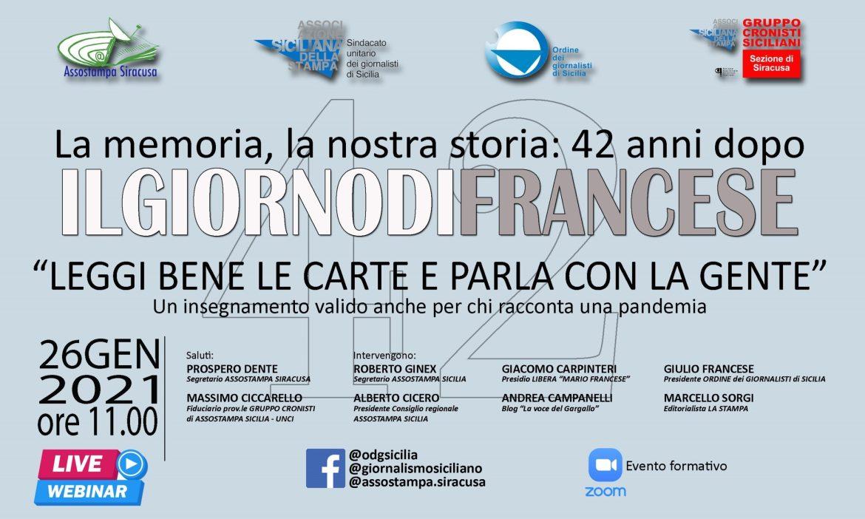 Siracusa,42° anniversario dell'omicidio di Mario Francese, cerimonia a Casina cuti e webinar