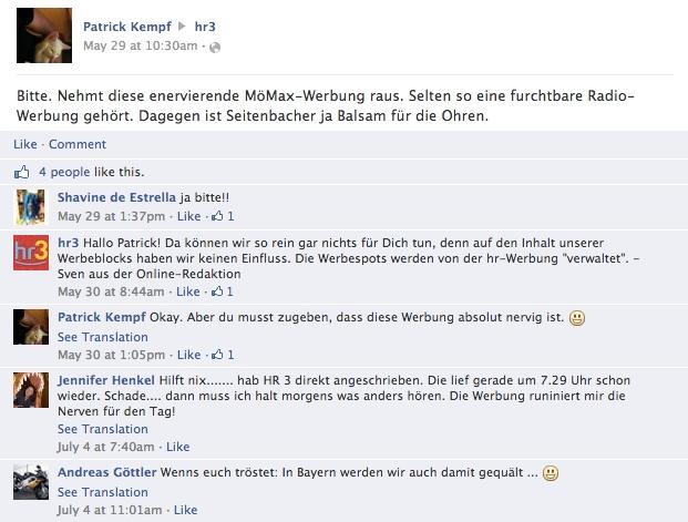 Facebook-Nutzer beschweren sich über den aktuellen Radiowerbespot des Möbelhauses Mömax