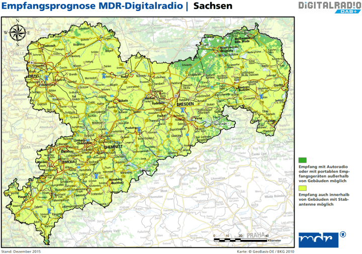 Empfangsprognose DAB+ Sachsen 01-2016