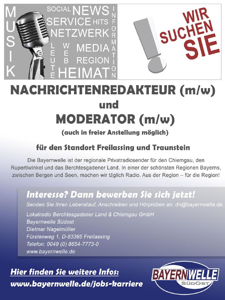 Bayernwelle Südost sucht Nachrichtenredakteur (m/w) und Moderator (m/w)