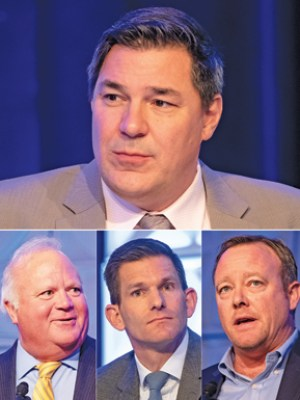 Featured speakers at the 11th Annual Radius Real Estate and Economic Forecast include featured economist Christopher Thornberg (top). Other speakers included Steve Golis, Gene Deering and Brad Frohling. KENNETH SONG / NEWS-PRESS