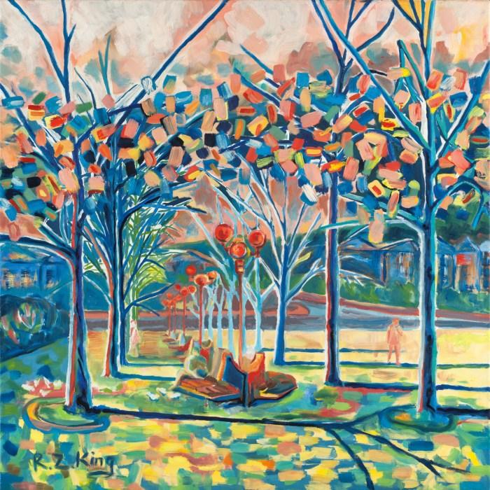 Linden trees Prague square Oil on canvas contemporary art
