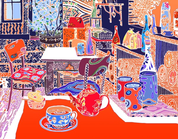 Contemporary Art Red Cafe Interior Drawing and Digital Coloring