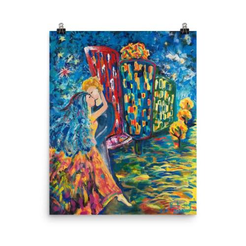 """Kiss"" Acrylic on canvas Contemporary ART PRINT"