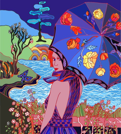 Digital graphic art Woman at the lake Blue night Fine Art Print for sale