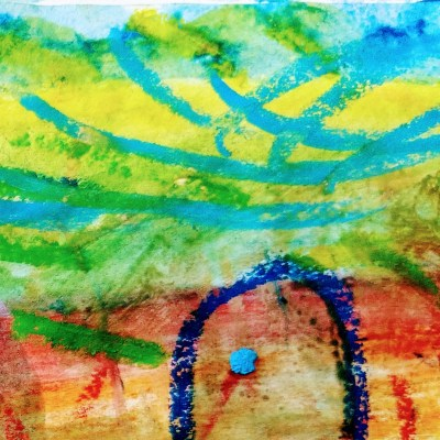 Watercolor Crayon Color sketching Abstract art