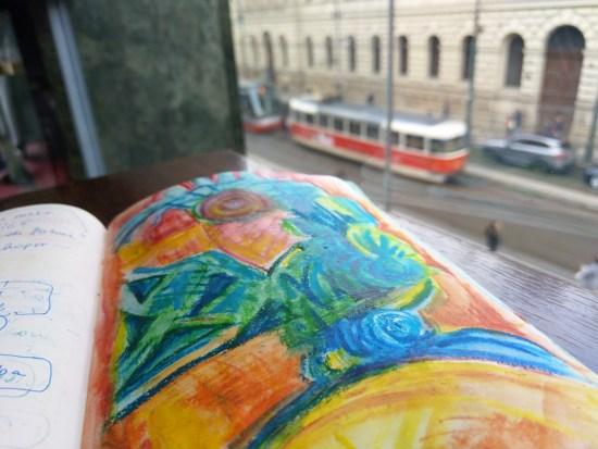 Sketching in a Prague cafe