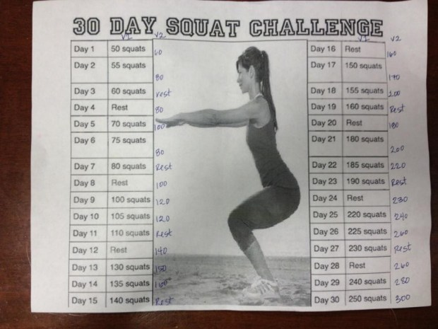 30-Day Squat Challenge flyer