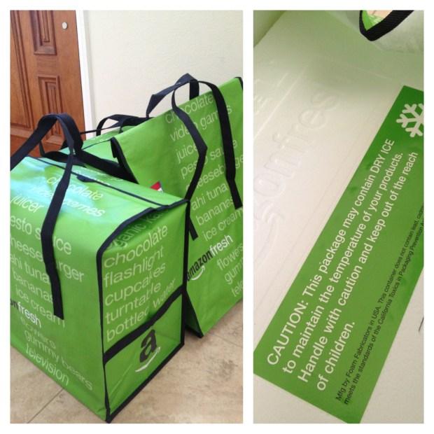 Amazon Fresh's packaging materials: reusable bag, styrofoam box