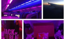 Mood lighting, sunset view, IPA & kids meal. Supper on flight to SF via @VirginAmerica #myvxexperience