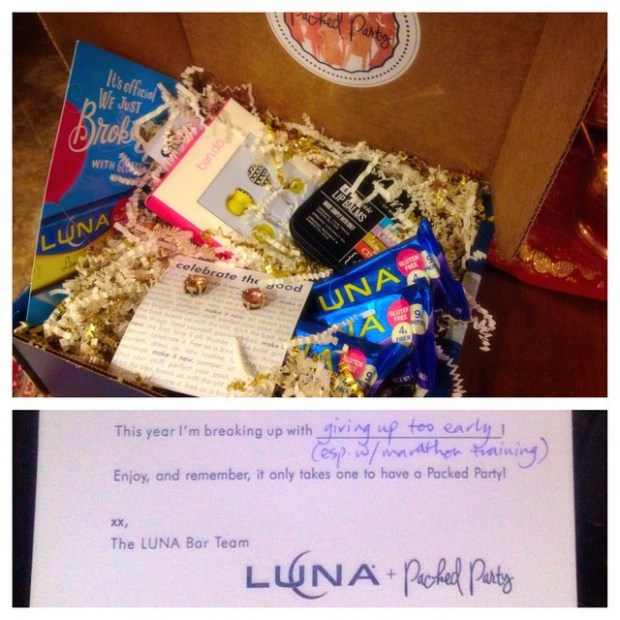 It's here! Thanks @lunabar + @packedparty for this box of deliciousness & shinies! p.s., it totally made my day, especially after a 5hr lunch-less conference call O_o #MakeItNew