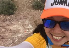 """I PR'd the half course today (1) and then my legs hated me at the switchbacks (2), but still, they moved for me on the last leg (3) of @desertdashtrailraces """"Trailogy"""" at #bloodsweatandbeers. Also, my All-Female Team (of one) placed first! Lol. Another wonderful race by #DesertDash special thanks to the RD for believing in and allowing me to race the division what would normally take 3 people to complete. I really just wanted the cool medal w/ Muir quote. #trailjunkie #craycray #nuunlife #ultratraining #taur #baseperformance #podiumed #trailrunning #switchbacks #technicaltrails [instagram]"""