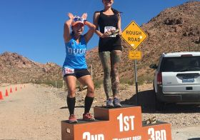Who's got that awkward podium pose down? lol Bootleg Beatdown felt hotter this year, but I was able to course PR while taking it slightly easy. Next up: IM70.3 next weekend! Thanks @desertdashtrailraces for another awesome race! #nuunlife #racewithbase #trailrunning #taur #trailrunningvegas #trailjunkie [instagram]