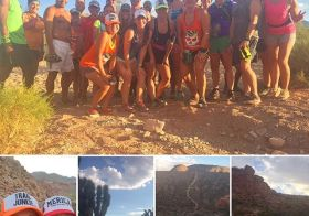Monday Night Trail group runniversary! 3 years ago, I joined @trailtalesrebecca on her run along w/ two other ladies as we navigated through the desert trails. Fast forward to yesterday's group run: the Monday trail family has deffo grown! #trailjunkies #trailrunningvegas #nuunlife #racewithbase #beyondvegas [instagram]