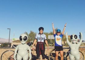We encountered some stranded extra-terrestrials on this morning's ride. They were cool enough to pose with us. Lol only in Vegas!! #cycling [instagram]