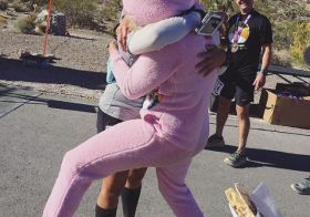Getting hugged by a Care Bear  at my mile 27 of 26.5   @desertgypsyrunner #trailrunningvegas #trailjunkie [instagram]