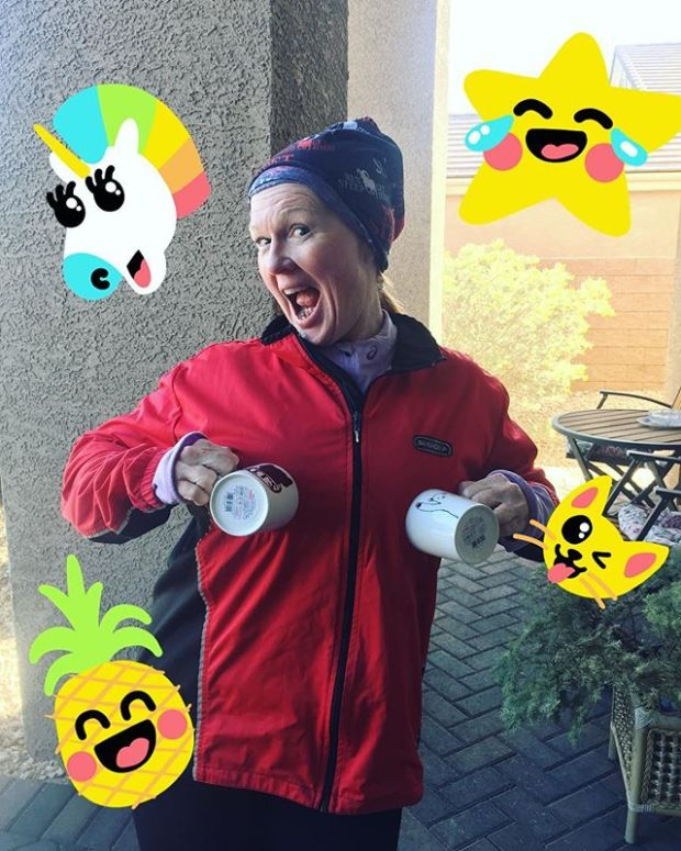 Show off yer new cups, @mmeviltwin 🤣 After nearly a year, Karen finally believed these mugs were real. Also, I got some last minute tips for my upcoming loopy loops at Jackpot Ultra. I took notes. Lol. #marathonmaniacs #ultrarunner