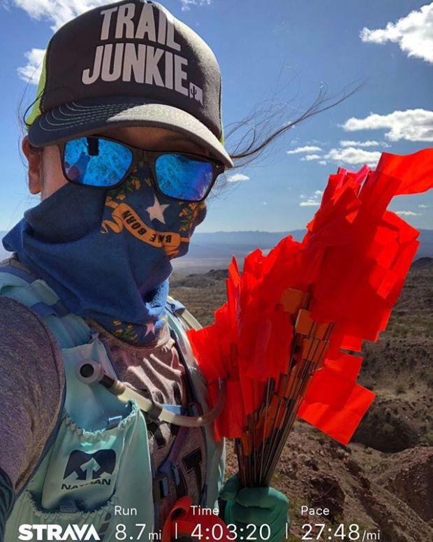 It was hella windy earlier today at Bootleg Canyon. Still, I'm smiling under my buff. Because trails.
