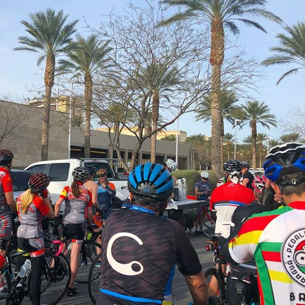 This was my first time riding with #LifetimeFitness Summerlin Cycling group! Then, I made a beeline for the back and rode w/ Jen B of @lasvegas.cyclery 🏽 #centurytraining #hutchsbicyclegarage