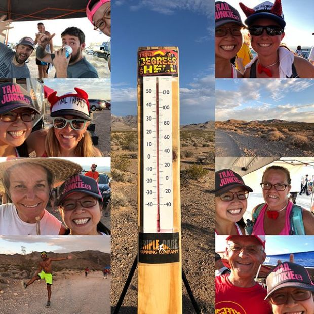 """A wise Englishman once said, """"If you're going through hell, keep going."""" Well, I think I've had my fill of heat running. 3 races. 2 days. lol. Despite 100°++ temps, it was great fun! Plus, plenty of good vibes when you support local! Thanks to @battleborntiming @tripledareruns at Three Degrees of Hell! #trailrunningvegas"""