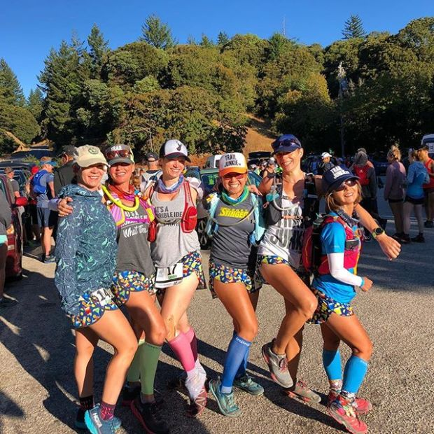 """Our """"Happy Hour"""" @boausa shorts were on point at Skyline to the Sea 50km — we would yell, """"follow the cocktails!"""" when we zoomed down the lovely CA forest singletrack! #trailjunkies #myboausa"""