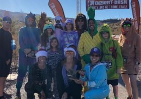 It's Black Mountain Friday and I didn't have a selfie-limit so All. The. Selfies! 🤣 Great fun & race by @desertdashtrailraces 🏽 Yes, some of us raced in onesies. It was a bit warm.  Invisible unicorn (jumping) photo credit: @vegasultrarunner [instagram]