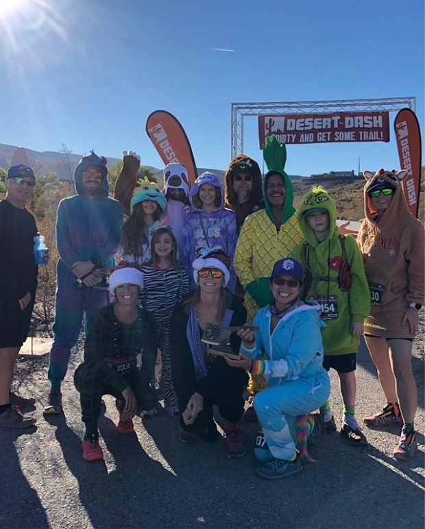 It's Black Mountain Friday and I didn't have a selfie-limit so All. The. Selfies! 🤣 Great fun & race by @desertdashtrailraces 🏽 Yes, some of us raced in onesies. It was a bit warm.  Invisible unicorn (jumping) photo credit: @vegasultrarunner